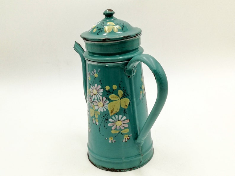 Antique enameled French coffee pot rare light bluegreen antique french enamelware vintage french coffee biggin hand painted flowers
