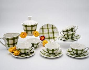 Antique tea or coffee set, ceramic tea set, green checks, Moulin de Loups, decor Nappe, milk jug, sugar bowl & 6 cups and saucers, vintage