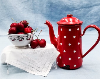 Antique enameled coffee pot DUCO Red & Polka Dots, Enameled COFFEE BIGGIN, Enameled coffee pot, Antique enameled coffee pot, coffee pot