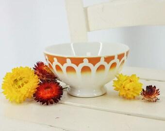 Antique French cafè au lait bowl safran yellow shades & stenciled arches, unsigned, vintage french ceramic bowl, cafe au lait bowl