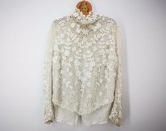 Antique Irish lace bodice or blouse, Downton Abbey style top crochet Irish lace, period blouse Edwardian era, crochet lace antique top