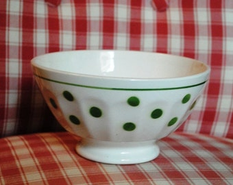 Vintage FRENCH Cafè au lait BOWL Green Polka DOTS