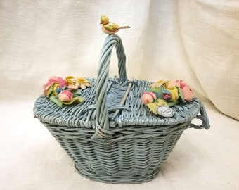 Italian Lenci sewing basket wicker & felt flowers wooden bird years 1930's, antique sewing basket Lenci