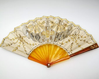 Antique French hand fan, small size folding fan with brass monogram G, false turtle sticks, ivory silk & tulle net with sequins original box