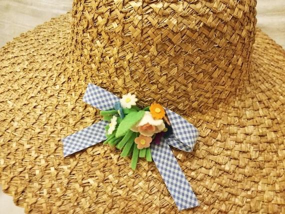 Cappello da sole vintage in paglia di Firenze decorato con  cc1f6816e36b