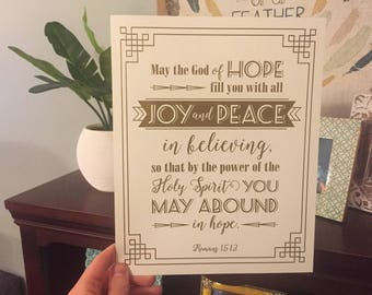 8x10 Christmas Scripture Art Print - Joy and Peace - Gold Thermography
