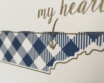 Tennessee Art Print - 5 x 7 - Navy and Gold