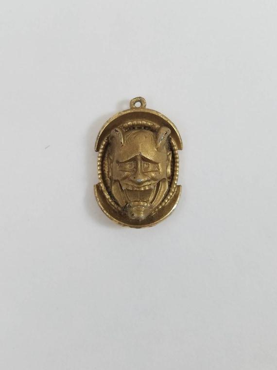 Florenza Asian Noh Devil Pendant Goldtone, Gold No