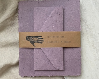 Stationery Set - Purple Handmade Paper with Pointed Flap Envelopes