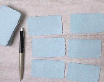 Handmade Paper Deckled Edge Card - Celadon Mixed Media - Business Cards, Wedding Place Cards, Escort Cards