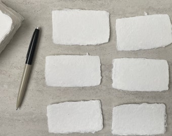 Handmade Paper Deckled Edge Card - White Classic Cotton - Business Cards, Wedding Place Cards, Escort Cards