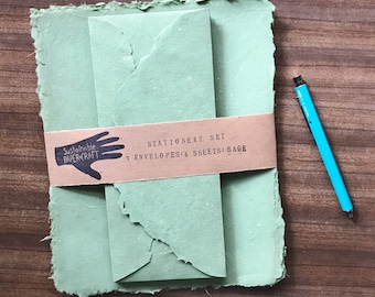 Stationery Set - Sage Green Handmade Paper Letter Writing Set