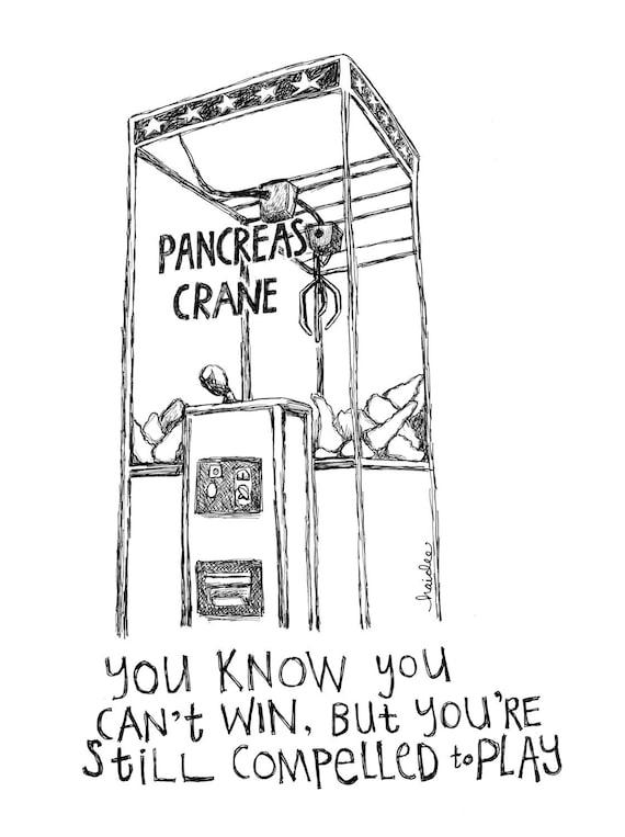 Pancreas Crane Pen Ink Illustration