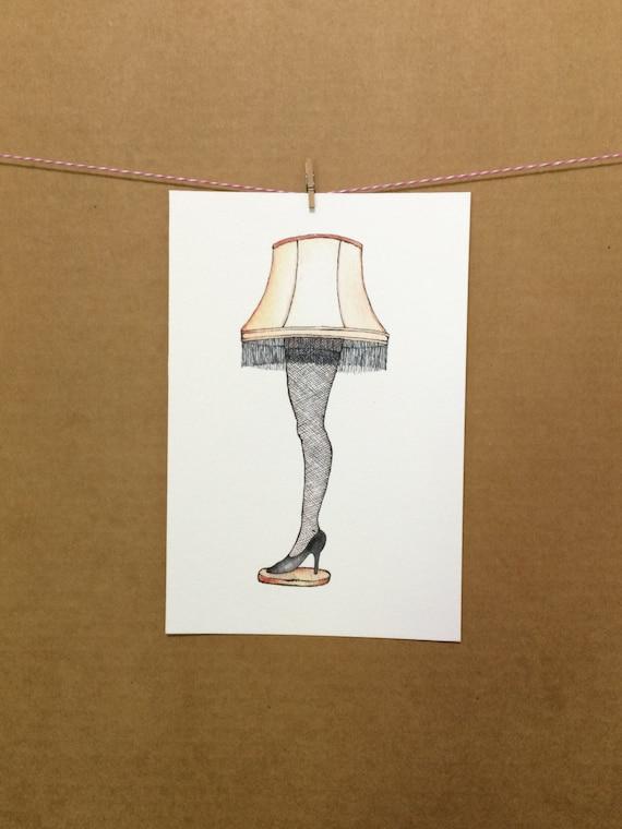 Watercolor Ink Xmas A Christmas Story Leg Lamp