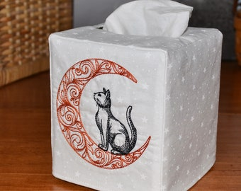 Cat in the Moon Tissue Box Cover, handmade, embroidered