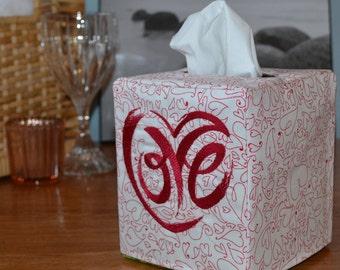 Heart LOVE Tissue Box Cover, handmade, embroidery