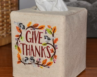 Give Thanks Tissue Box Cover, handmade, embroidered