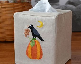 Primitive Pumpkin and Crow Tissue Box Cover, handmade, embroidery