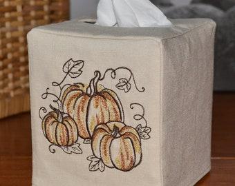 Glitzy Pumpkin Trio Tissue Box Cover, handmade, embroidered