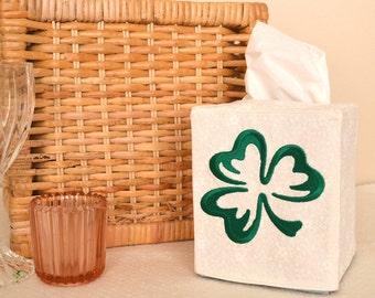 Emerald Shamrock Tissue Box Cover