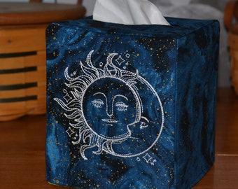 Sun, Moon and Stars Tissue Box Cover,  Embroidered, Handmade