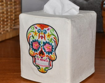 Floral Sugar Skull Tissue Box Cover, embroidered, handmade