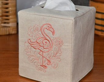 Dancing Flamingo Tissue Box Cover, handmade, embroidered