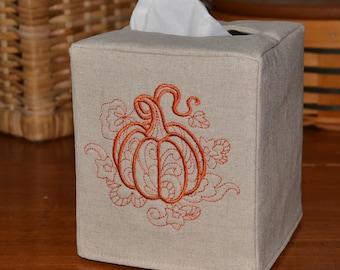 Harvest Pumpkin Tissue Box Cover, handmade, embroidered