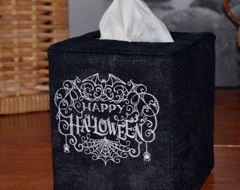 Spiderweb Happy Halloween Tissue Box Cover, embroidered, handmade