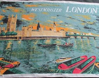 T25 Vintage Kitchen Dish Tea Towel Souvenir Westminster London Irish Linen