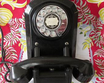 D - Vintage Antique Bakelite Wall Telephone Rotary Dial Phillips Electric Company