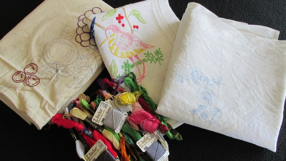 Vintage Stamped Embroidery Needlecraft Foundations And Floss Etsy