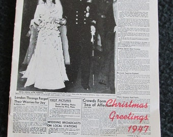 1947 Miniature Newspaper Commemorating Queen Elizabeth Prince Philip Marriage