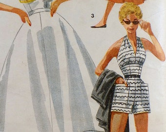 a3b4678e7 Simplicity 4748 Bust 30 Halter top skirt Tap shorts Vintage pattern Bathing  suit Bra Post-War Era 1950 1940s rockabilly PIn-up Girl