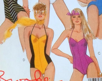 Vintage sewing pattern McCall's 9065 bathing suit one piece Swimsuit Bust  31.5 Brooke Shields strapless maillot