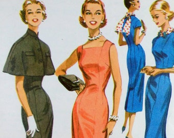 1950s pattern, sewing pattern, cape pattern, capelet pattern, vintage pattern, wiggle dress pattern, mccall's 3614, 1950s dress