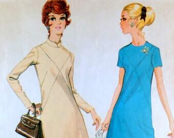 Vintage Pattern McCall's 2471 1960s A Line Dress Mod shift sack bust 43 Plus size Large criss cross seams Nehru collar