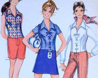 Vintage sewing pattern Simplicity 9435 Tunic women's Mod Groovy shirt 1970s Hippie Bust 32.5 buckskin Apache