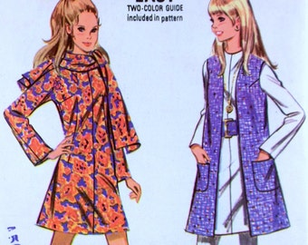 Vintage McCall's 2101 sewing pattern 1970s bell sleeve dress Jumper Vest shirt dress Bust 32.5 Cuffed Collar Mod Groovy Hippie Uncut