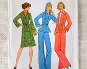 Vintage 1970s sewing pattern Simplicity 7094 Bust 34 hoodie Jean skirt Bust 34 bell bottoms jacket