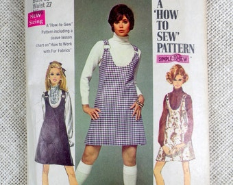 Vintage Simplicity 8414 pattern dress 1960s 1970 sewing Bust 36 Mod Groovy Megan from Mad Men jumper uncut Hippie ring mini