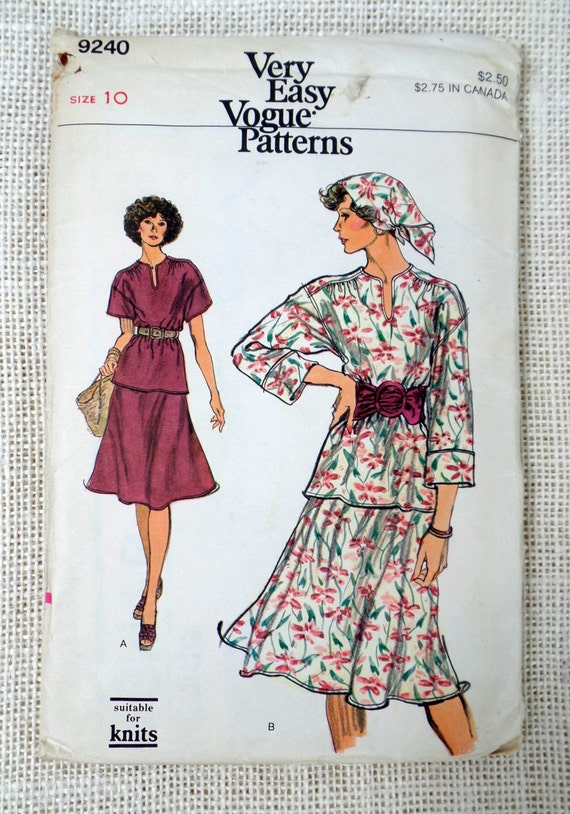 Vintage Vogue 9240 Nähen Muster Bauer Bluse flouncy Rock der | Etsy