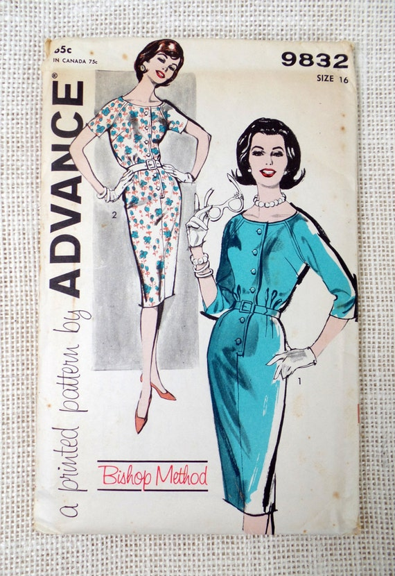 Schnittmuster vorab 9832 1950s Kleid wackeln Mantel Kleid | Etsy