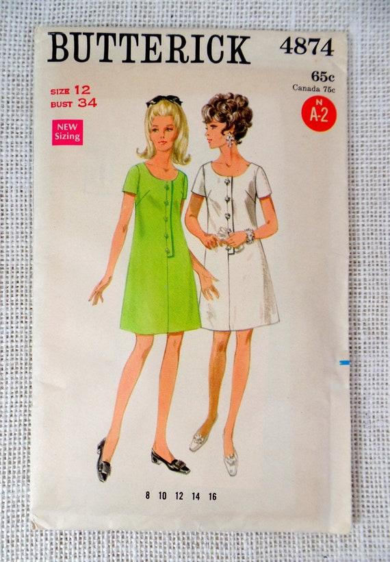 Butterick 4874 Vintage Dress Pattern 1960s Bust 34 A Line Mod Secretary scoop neck Mad Men Retro button placket