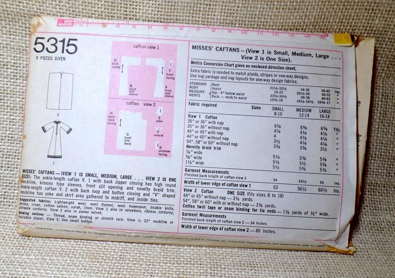 Vintage Simplicity 5315 Pattern Caftan Medium Bust 31.5 32.5 34 36 1960s 1969 HIppie Groovy Festival Boho Woodstock Abaya