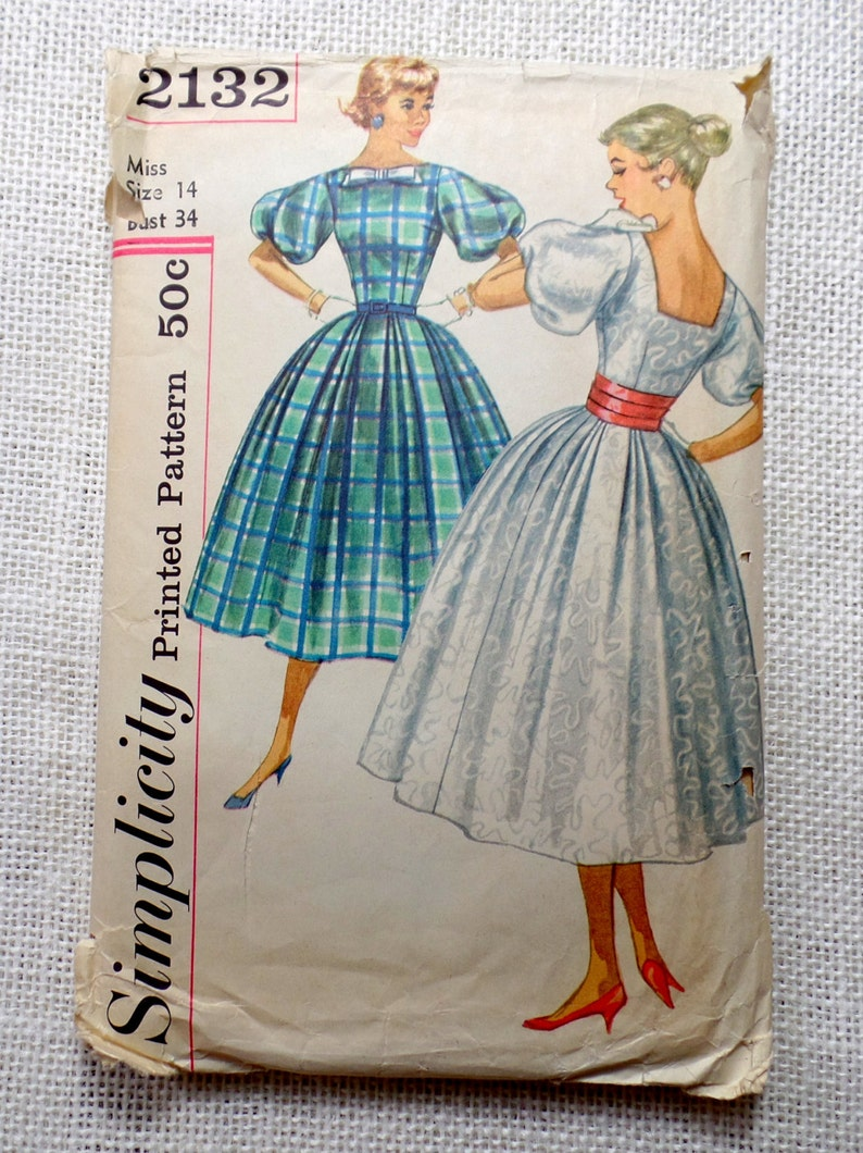 Vintage Simplicity 2132 sewing pattern 1950s Bust 34 New Look image 0