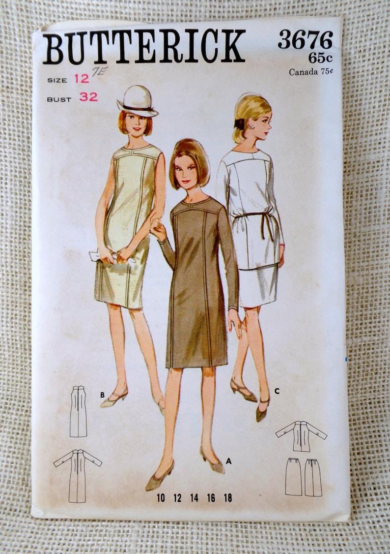 Le Des Tunique La Robe Men Buste Intérêt 1960 Sous 3676 Jupe Couture Mod Vintage De Wiggle Patron Butterick 32 Joug Mad Années cjq53ARL4