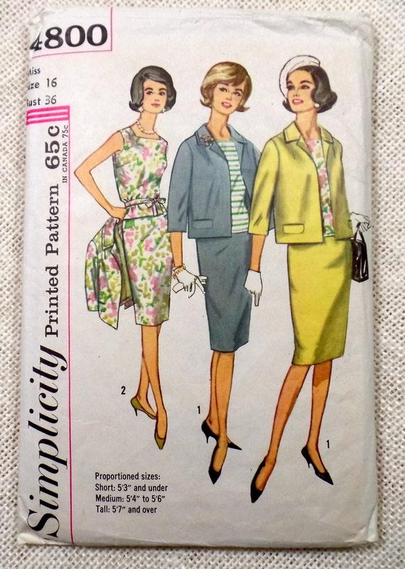 Vintage Muster der 1960er Jahre Einfachheit 4800 Nähen Kleid | Etsy