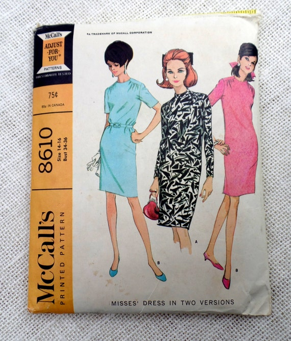 McCall's 60 Vintage Sewing Pattern Shift Dress Sack Etsy Magnificent Shift Dress Sewing Pattern