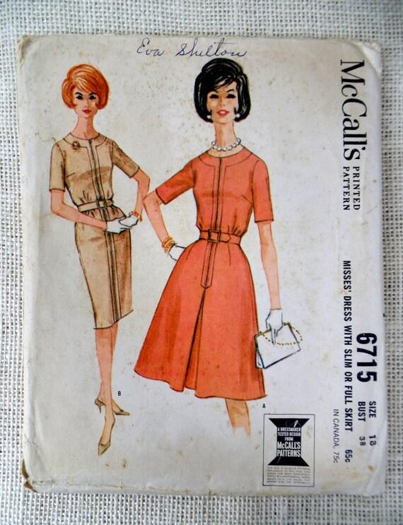 McCall 6715 Vintage Schnittmuster Kleid 1960er Jahre wackeln | Etsy